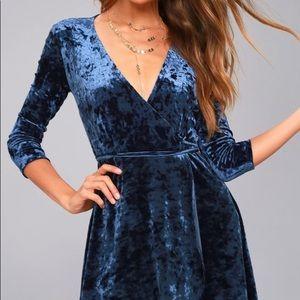 Lulu's Navy Blue Velvet Wrap Dress